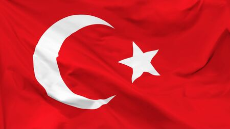 Fragment of a waving flag of the Republic of Turkey in the form of background, aspect ratio with a width of 16 and height of 9, vector