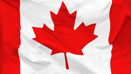 Fragment of a waving flag of the Canada in the form of background, aspect ratio with a width of 16 and height of 9, vector