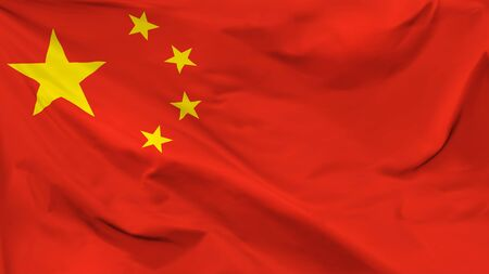 Fragment of a waving flag of the People's Republic of China in the form of background, aspect ratio with a width of 16 and height of 9, vector
