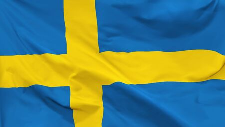 Fragment of a waving flag of the Kingdom of Sweden in the form of background, aspect ratio with a width of 16 and height of 9, vector