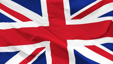 Fragment of a waving flag of the United Kingdom in the form of background, aspect ratio with a width of 16 and height of 9, vector Illustration