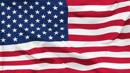 Fragment of a waving flag of the United States of America in the form of background, aspect ratio with a width of 16 and height of 9, vector