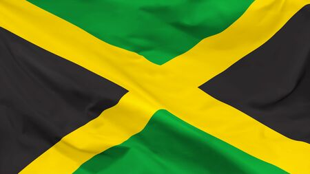 Fragment of a waving flag of the Jamaica in the form of background, aspect ratio with a width of 16 and height of 9, vector
