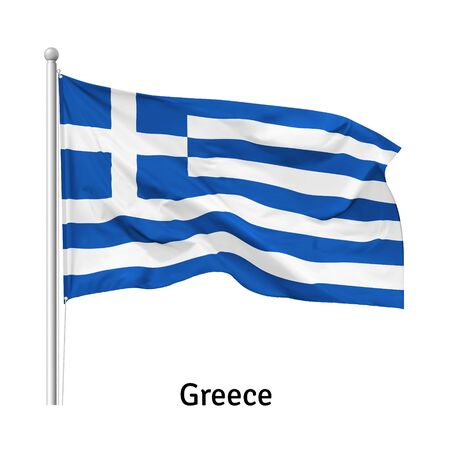 Flag of the Greece in the wind on flagpole, isolated on white background, vector