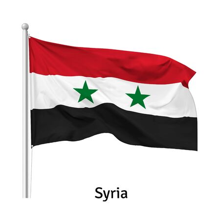Flag of the Syrian Arab Republic in the wind on flagpole, isolated on white background, vector