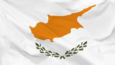 Fragment of a waving flag of the Republic of Cyprus in the form of background, aspect ratio with a width of 16 and height of 9, vector Иллюстрация