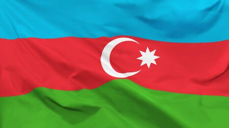 Fragment of a waving flag of the Republic of Azerbaijan in the form of background, aspect ratio with a width of 16 and height of 9, vector