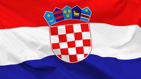 Fragment of a waving flag of the Republic of Croatia in the form of background, aspect ratio with a width of 16 and height of 9, vector