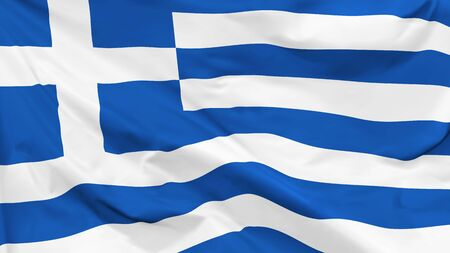 Fragment of a waving flag of the Greece in the form of background, aspect ratio with a width of 16 and height of 9, vector Vettoriali