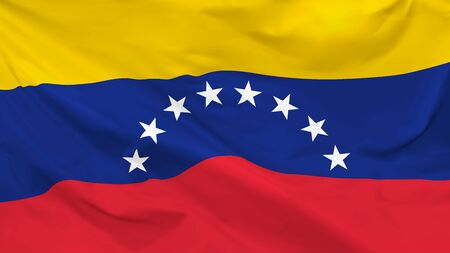 Fragment of a waving flag of the Republic of Venezuela in the form of background, aspect ratio with a width of 16 and height of 9, vector