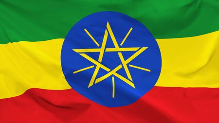 Fragment of a waving flag of the Republic of Ethiopia in the form of background, aspect ratio with a width of 16 and height of 9, vector