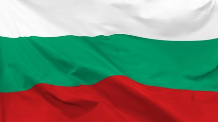 Fragment of a waving flag of the Republic of Bulgaria in the form of background, aspect ratio with a width of 16 and height of 9, vector