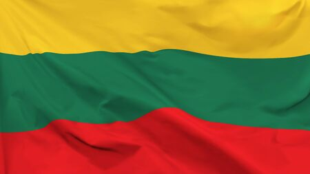Fragment of a waving flag of the Republic of Lithuania in the form of background, aspect ratio with a width of 16 and height of 9, vector Иллюстрация