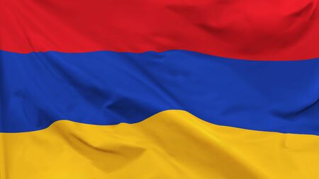 Fragment of a waving flag of the Republic of Armenia in the form of background, aspect ratio with a width of 16 and height of 9, vector