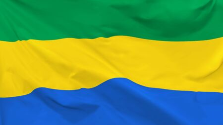 Fragment of a waving flag of the Gabonese Republic in the form of background, aspect ratio with a width of 16 and height of 9, vector