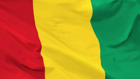 Fragment of a waving flag of the Republic of Guinea in the form of background, aspect ratio with a width of 16 and height of 9, vector