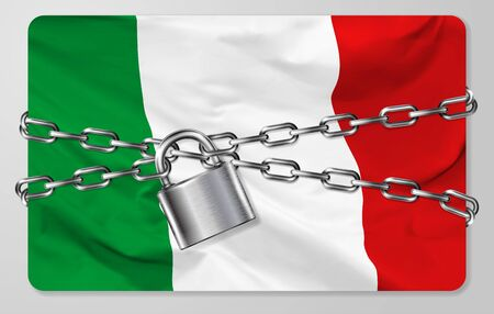 The metal chain and padlock with flag of the Italian Republic, isolated on gray background. Concept of protection, restrictions, sanctions and quarantine. Vector illustration