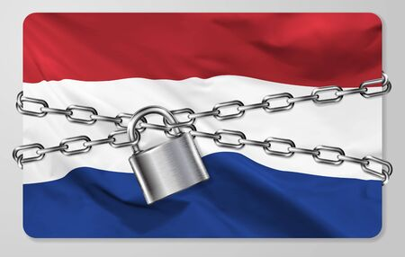 The metal chain and padlock with flag of the Kingdom of the Netherlands, isolated on gray background. Concept of protection, restrictions, sanctions and quarantine. Vector illustration Illustration