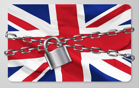 The metal chain and padlock with flag of the United Kingdom, isolated on gray background. Concept of protection, restrictions, sanctions and quarantine. Vector illustration