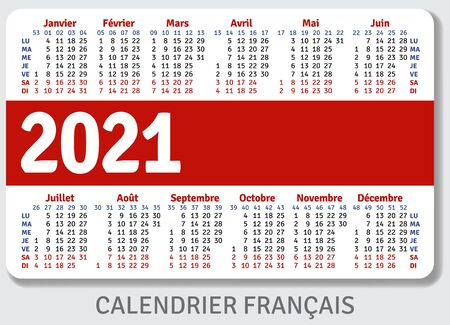 French calendar grid for 2021 in the form of a pocket calendar or personal organizer, isolated on gray background, horizontal vector template