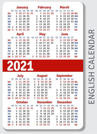 English calendar grid for 2021 in the form of a pocket calendar or personal organizer, isolated on gray background, vertical vector template