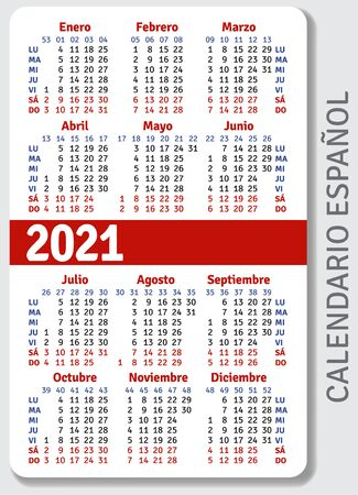 Spanish calendar grid for 2021 in the form of a pocket calendar or personal organizer, isolated on gray background, vertical vector template