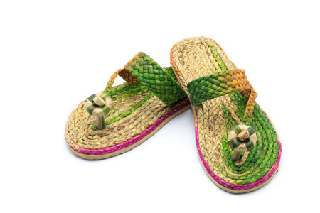 Shoes made of water hyacinth on a wooden,Sandals handmade.