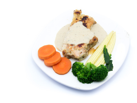 vegtables: beefsteak with puree and vegtables. Meat steak, the one of clen food menu served with fresh vegtables such as tometo, broccoli, pumpkin. Stock Photo
