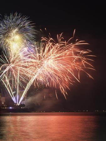 New Year celebration fireworks. Stock Photo