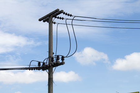 Telegraph Pole. High voltage power pole with wires tangled