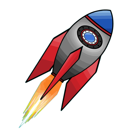 Colored rocket ship icon in flat design. Simple spaceship icon isolated on white background. Vector illustration. Stock Illustratie