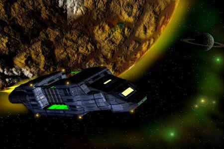 貨物宇宙船。奇妙な惑星の背景。 写真素材