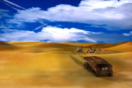 Un véhicule de reconnaissance sur une planète étrangère. Banque d'images - 90317410