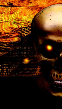 Screensaver on phone Skull with a burning eye on the background of fire and binary code. Stock Photo