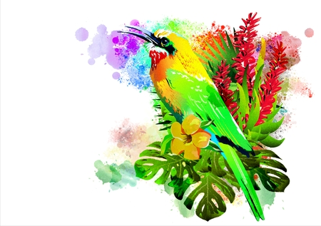 Colorful illustration with tropical birds in colors on an abstract background. Stock Photo
