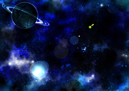 Fantastic space landscape. Journey through the galaxy. Mysterious worlds deep space.