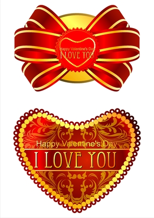 Rich postcards for Valentines Day with the inscription I love you. Stock Photo