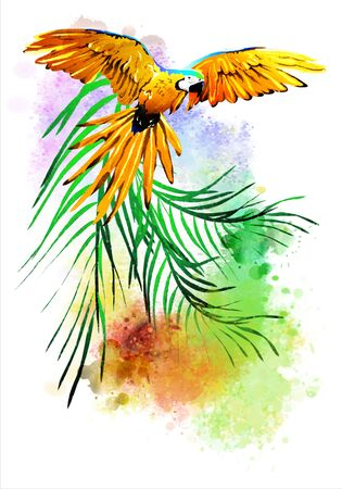 Parrot with flowers on an abstract background. It is executed in a watercolor style. Isolated on a white background.
