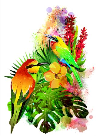 Tropical birds with flowers on an abstract background. It is executed in a watercolor style. Isolated on a white background. Banco de Imagens