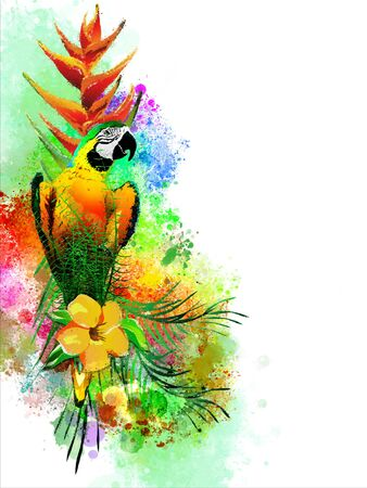 Tropical birds with flowers on an abstract background. It is executed in a watercolor style. Isolated on a white background. Stok Fotoğraf
