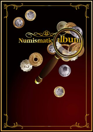 Cover for the numismatic album. It can also be used as an illustration on the topic of numismatics. Banco de Imagens