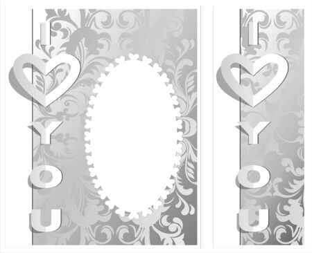Postcard with cut out phrase - I love you. Can be used as a card, cover or valentine.