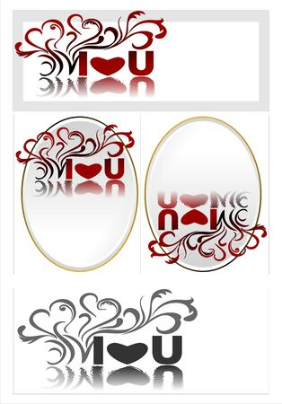Set of cards with an ambigram. I love you, you love me. Can be used as ready-made cards, valentines, wedding invitations or prints.