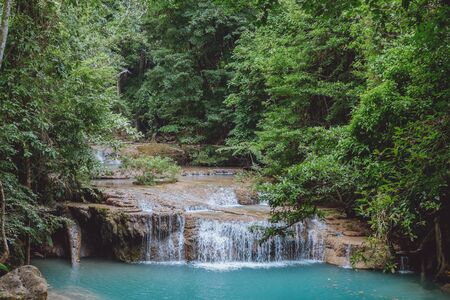 tiered: Small tiered waterfall in Thailand Stock Photo