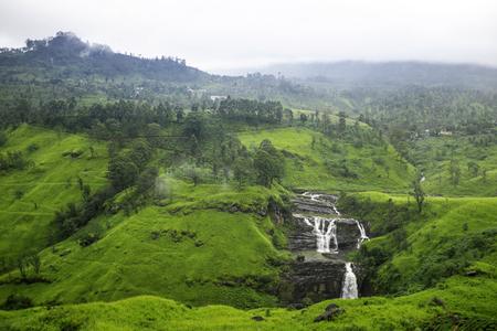 St Clair's Falls. Widest waterfalls in Nuwara Eliya, Sri Lanka. inspirational summer landscape. Clean and green.