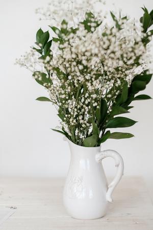 Gypsophila flowers bouquet, pattern, wreath Stock Photo