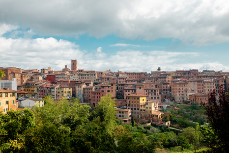 Journey to Italy. sky with clouds over Siena. Panoramic view