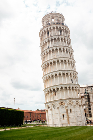 Travel in Italy. Architecture of Pisa. Leaning Tower of Pisa on a sky background. Italy