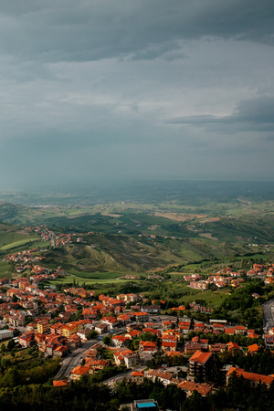 tour of Italy, view of the city from above. The sky before the rain