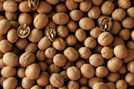 Walnuts background. Walnuts texture. Healthy organic food concept. Top view. View above